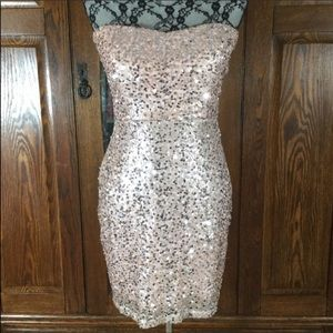 Forever 21 Pink & Silver Sequin Strapless Dress